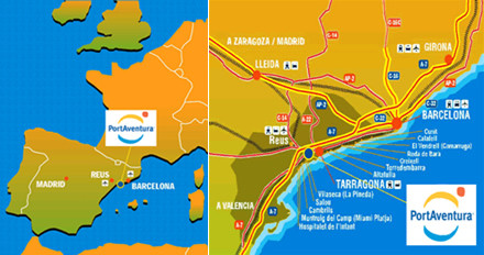 carte espagne port aventura